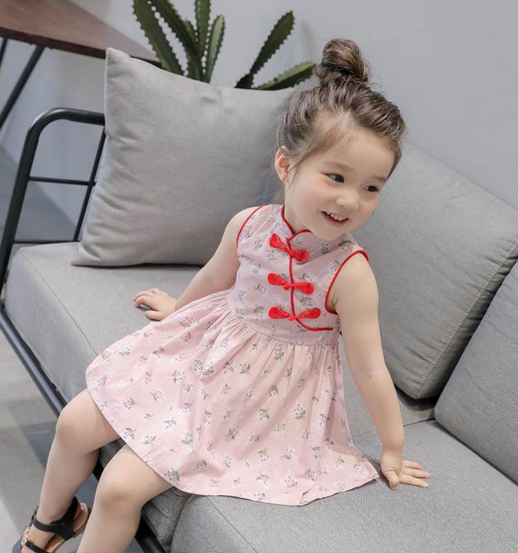 ชุดเดรสคอจีนสีชมพูลายดอกไม้ แพ็ค 2 ชุด [size 5y-6y]