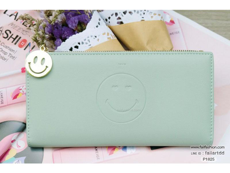 กระเป๋าสตางค์ ใบยาว หนัPU Smiley design แบบบางและใส่บัตรได้เยอะ