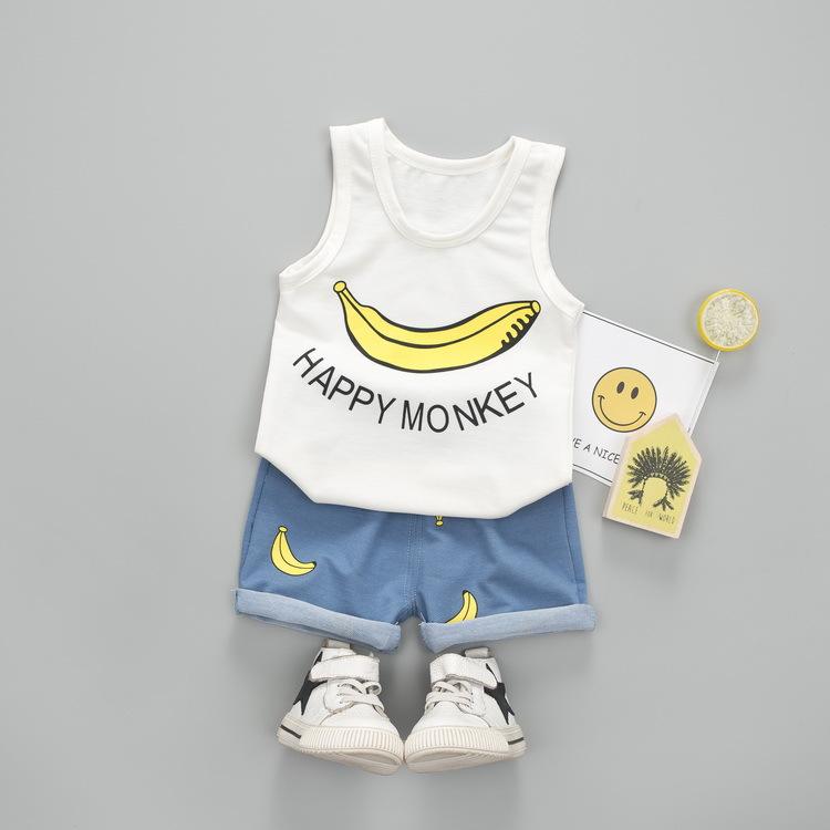 ชุดเซตเสื้อกล้ามสีขาวลายกล้วย+กางเกงสีฟ้า แพ็ค 4 ชุด [size 6m-1y-2y-3y]