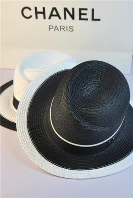 [พร้อมส่ง] H5675 หมวกสาน ปีกสั้น ทรงปานามา ขาวดำ สไตล์ Chanel