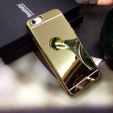 เคสกระจกเงานิ่มขอบโครเมียม ไอโฟน 6/6s 4.7 นิ้ว (ต้องลอกแผ่นพลาสติกที่เคสออก)