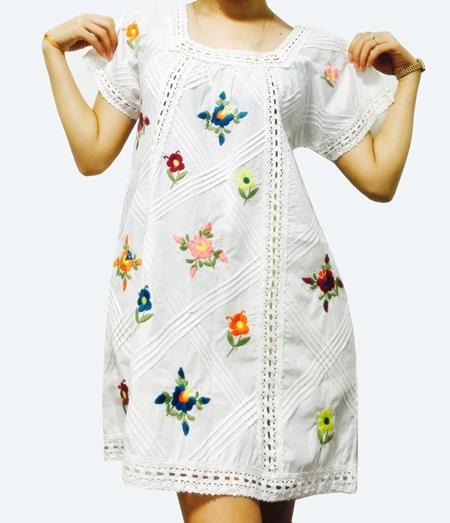 เสื้อวินเทจ/เดรสสั้น งานปัก Vintage Floral Embroidered