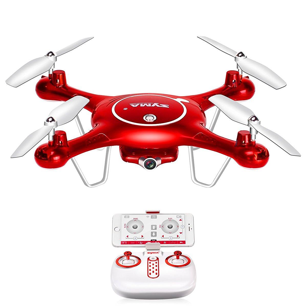 โดรนติดกล้อง SYMA X5UW 720P WIFI โดรนบังคับ เครื่องบินบังคับ รุ่น X5UW (สีแดง)