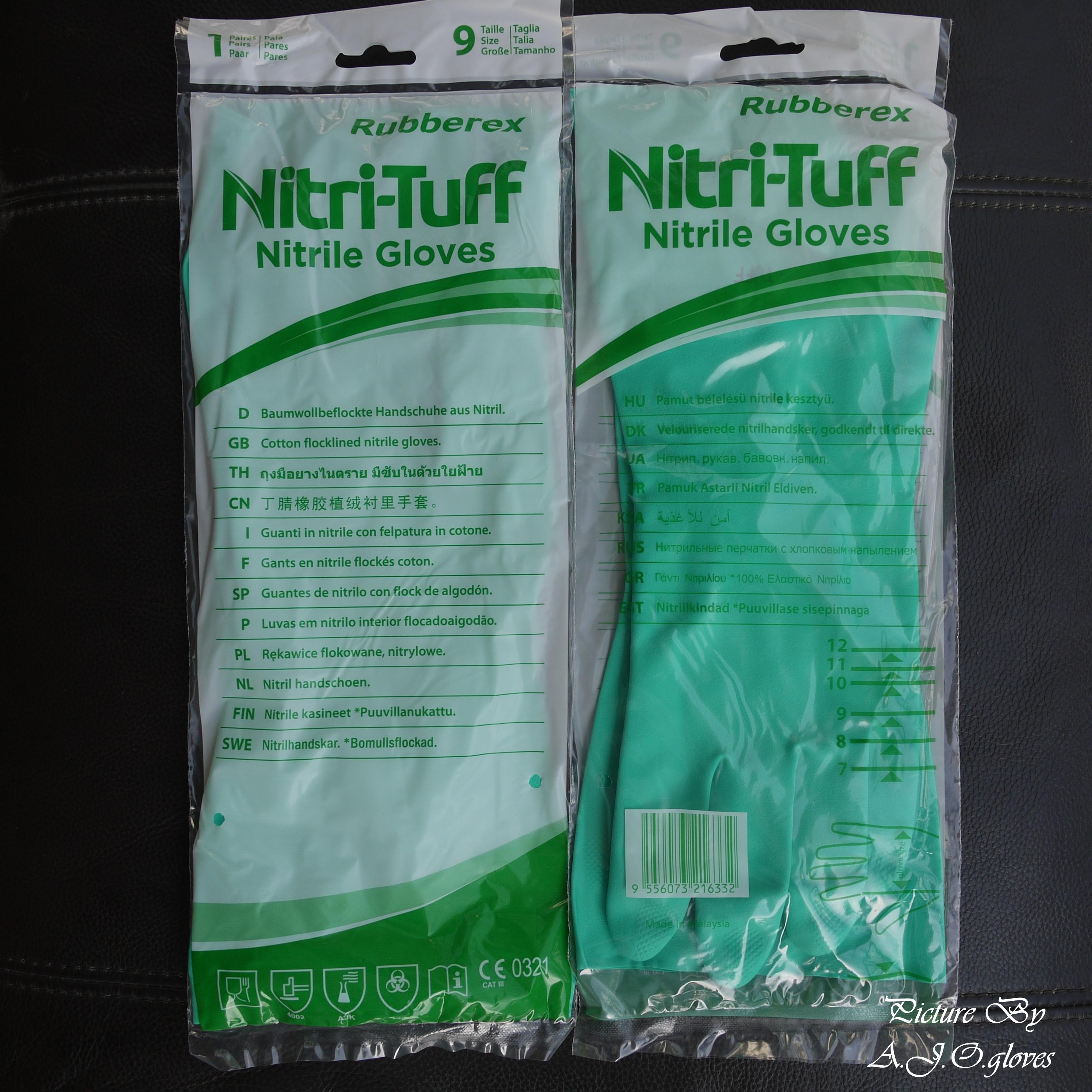 ถุงมือไนไตรสีเขียวมีซับ หนา 15 mil.