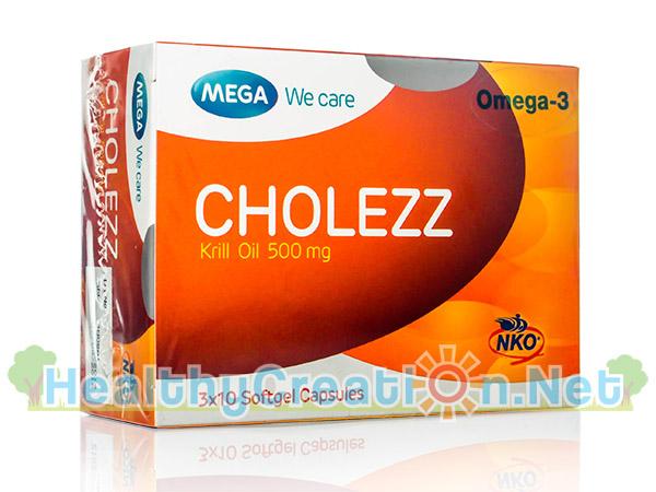 Mega We Care Cholezz (Krill Oil 500 mg) เมก้า วีแคร์ โคเลซซ์ บรรจุ 30 แคปซูล Krill Oil บริสุทธิ์จากทะเลน้ำลึกเพื่อหัวใจ ข้อ และลดอาการปวดประจำเดือน