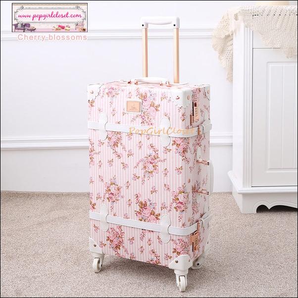 """กระเป๋าเดินทางดีไซน์วินเทจ อัพเกรด 4 ล้อ UNIWALKER """"Blossom Pink Floral"""" for Summer 2017 Luggage&Suitcase Japanese Style ไซส์ 20"""", 22"""", 24, 26"""" หนัง PU (Pre-order) ราคาสินค้าอยู่ด้านในค่ะ"""