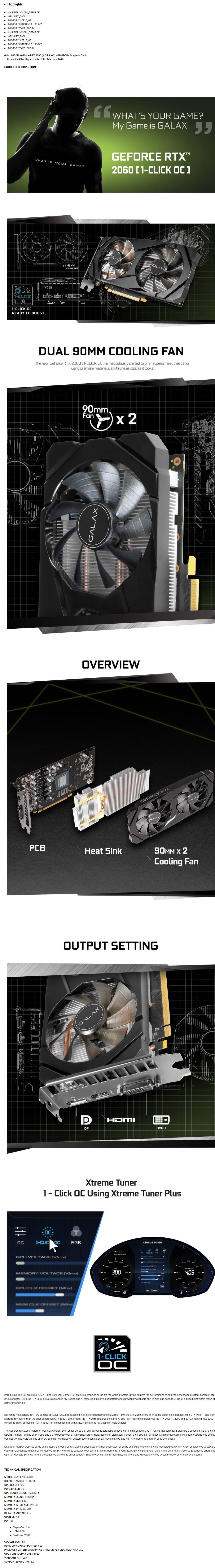 Galax NVIDIA GeForce RTX 2060 (1 Click OC) 6GB GDDR6