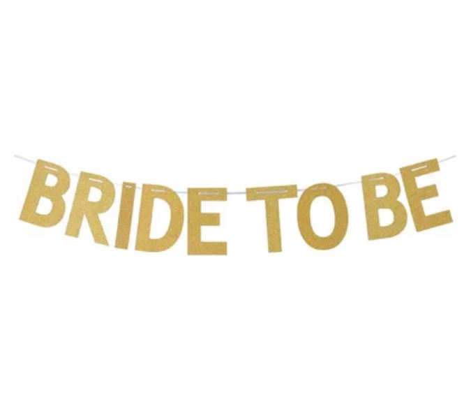 BRIDE TO BE Glitter Flag (Gold)