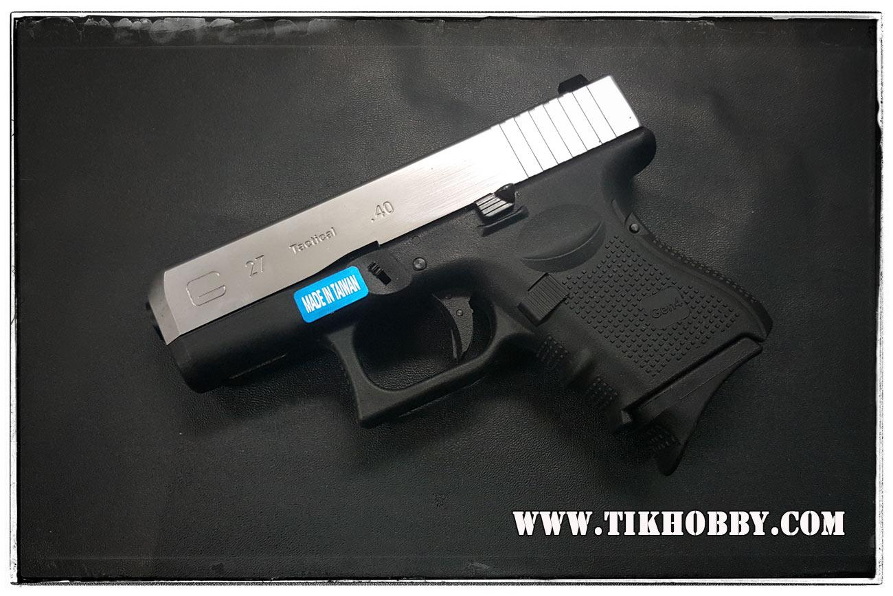 ปืนสั้นระบบแก๊สโบลว์แบล็ค รุ่น Glock26 (G27)Gen4 สไลด์เงิน WE