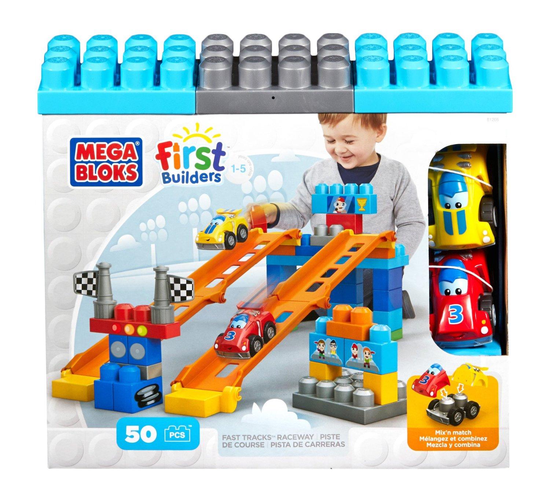 ตัวต่อ พร้อมรถแข่ง Mega Bloks First Builders Fast Tracks Raceway