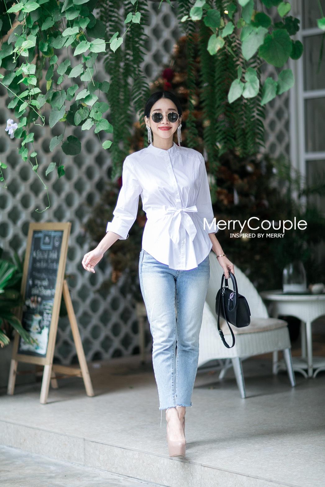 เสื้อเชิ้ตคอจีนแฟชั่นสีขาว