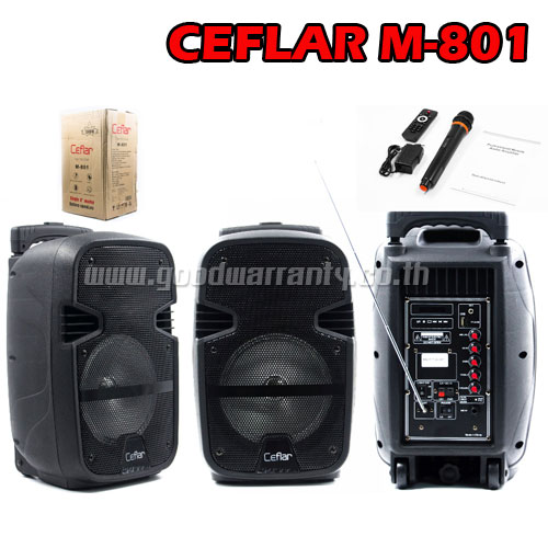 M-801 CEFLAR SPEAKER 8inch+MIC*1 BT/USB/LIGHT
