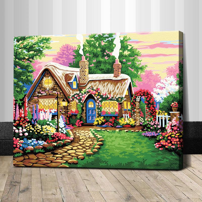 """TG324 ภาพระบายสีตามตัวเลข """"กระท่อมน้อยในสวนดอกไม้"""""""