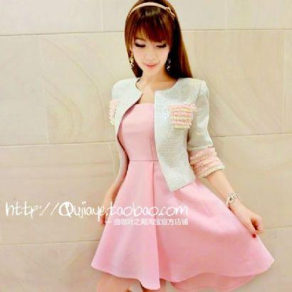 ชุดเดรสเกาะอกสีชมพูหวาน+เสื้อคลุมเข้าชุดกัน มีไซส์ S