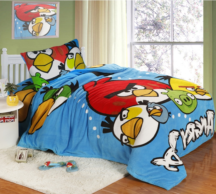 [Preorder] ผ้าปูที่นอนเตียงเดี่ยว (ไซส์ 3.3 ฟุต, 4 ฟุต หรือ 4.5 ฟุต) ลาย Angry Bird สีฟ้า Cartoon coral velvet three-piece children's bed dormitory bed linen products