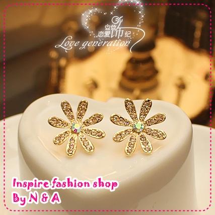 ตุ้มหูดอกไม้ South Korea Korea, love ornaments century flower earrings, Europe and the United States retro earrings earrings female jewelry