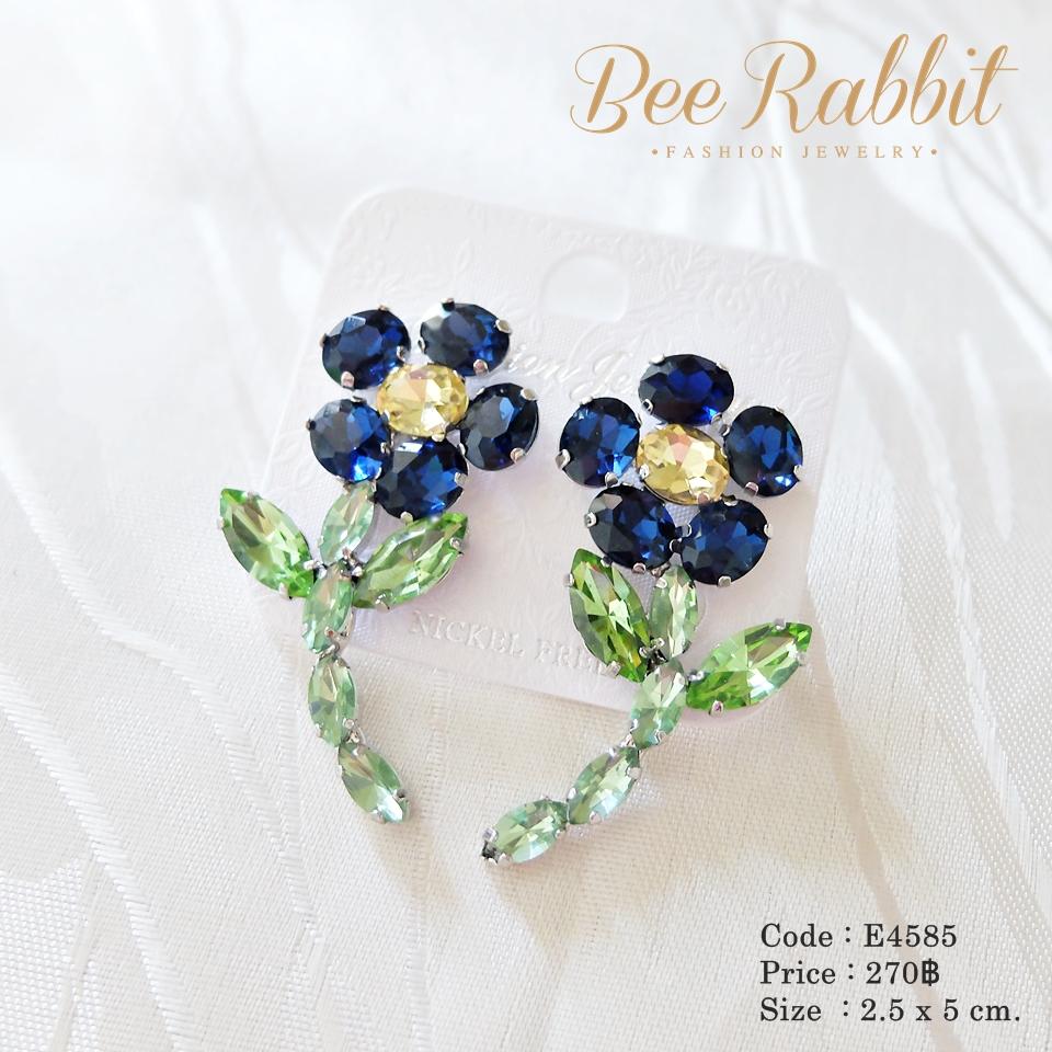 ต่างหูคริสตัล ดอกไม้สีน้ำเงิน แฟชั่นดารา