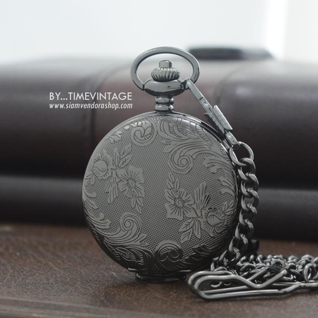 นาฬิกาพกฝาทึบล็อคเก็ตลายไทยเถาวัลย์ ตัวเรือนสีดำ ระบบถ่านควอทซ์ญี่ปุ่น