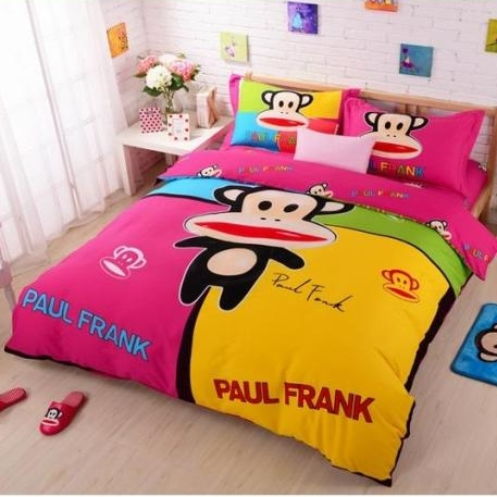 [Preorder] ผ้าปูที่นอน 1 เซ็ทมี 3 ชิ้น (ไซส์ 5 ฟุต, 6 ฟุต หรือ 6.6 ฟุต) ลาย Paul Frank สีชมพูเหลือง Mouth monkey cotton denim cotton linens clearance free shipping cute cartoon Fitted genuine four sets of bedding