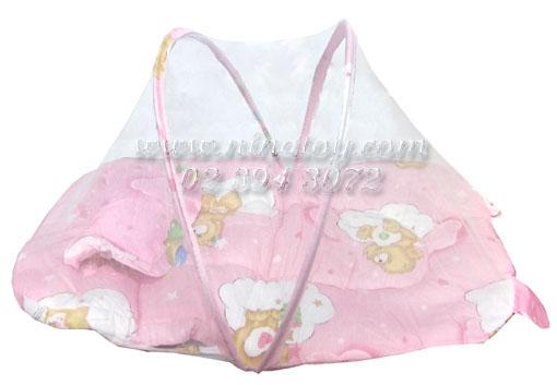 เบาะที่นอนเด็ก พร้อมมุ้งกันยุง พร้อมกระเป๋าพลาสติก รุ่นเล็ก สีชมพู
