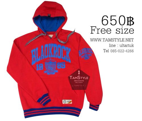 Coat-073 เสื้อกันหนาวเกาหลี มีฮู้ดมีฮู้ด สีแดง แต่งปลายแขนน้ำเงิน Hot มากในตอนนี้ free size (พร้อมส่ง)า
