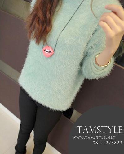 ***T008-เสื้อแฟชั่นเกาหลี เสื้อแฟชั่น เสื้อแขนยาว สีมิ้น ((เสื้อแฟชั่น))