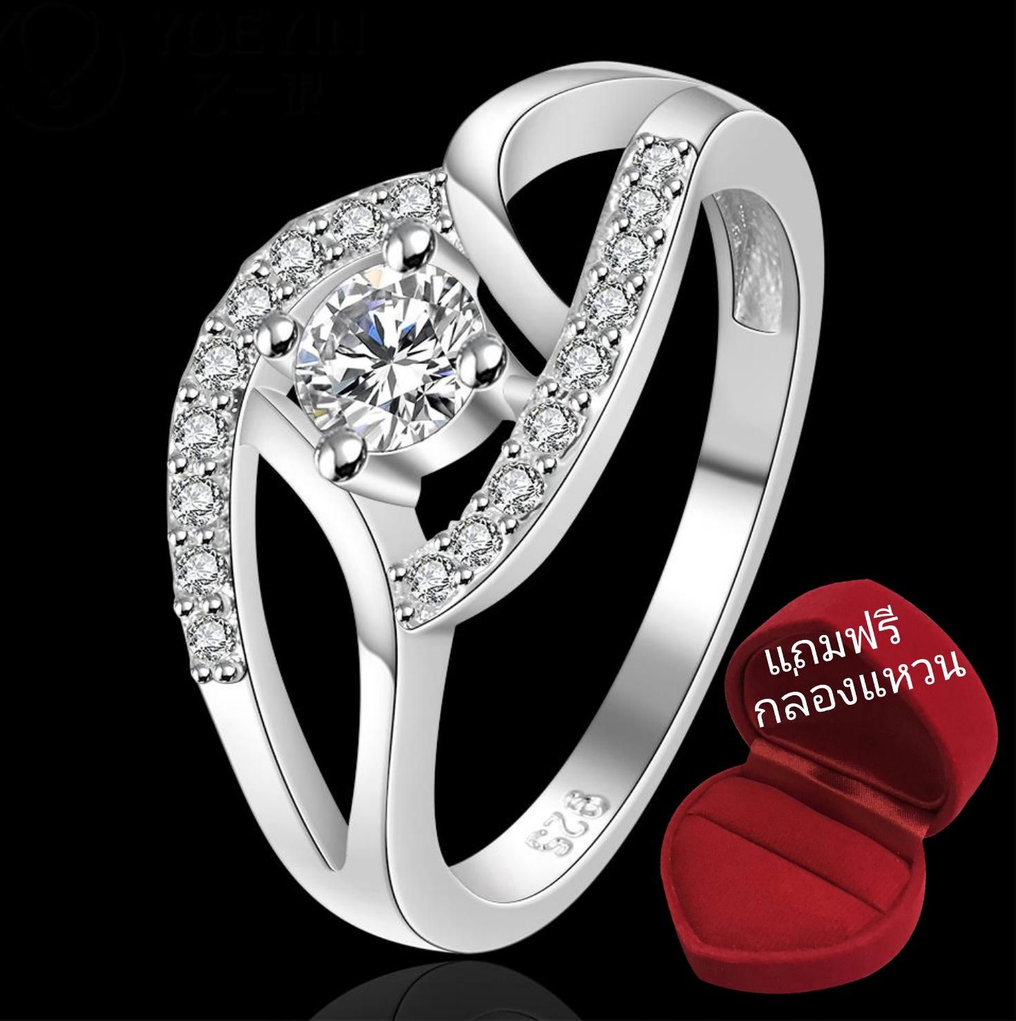 ฟรีกล่องแหวน R911 แแหวนเพชรCZ ตัวเรือนเคลือบเงิน 925 หัวแหวนเพชรล้อม ขนาดแหวนเบอร์ 7