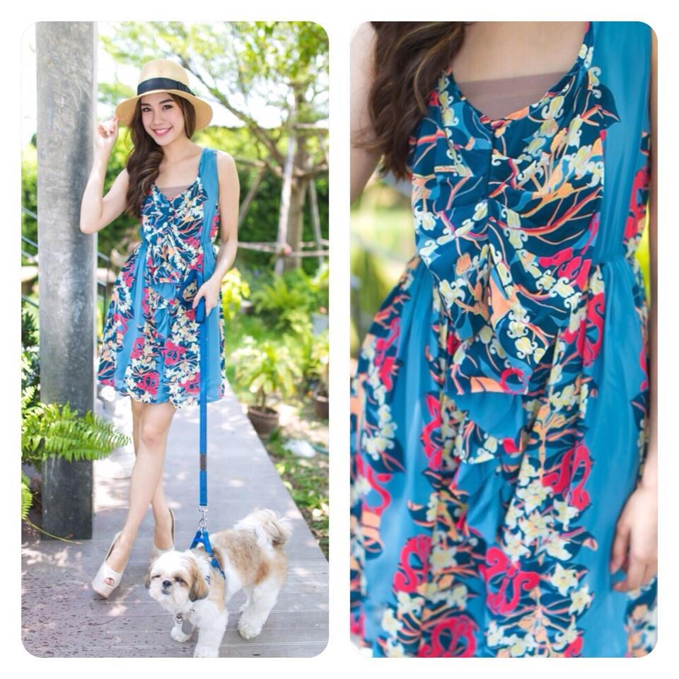 Aloha Summer Flower Dress สีฟ้า