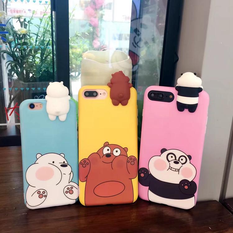 (483-033)เคสมือถือไอโฟน Case iPhone7 Plus/iPhone8 Plus เคสนิ่มหมีเกาะหน้าจอ 3D น่ารักๆ