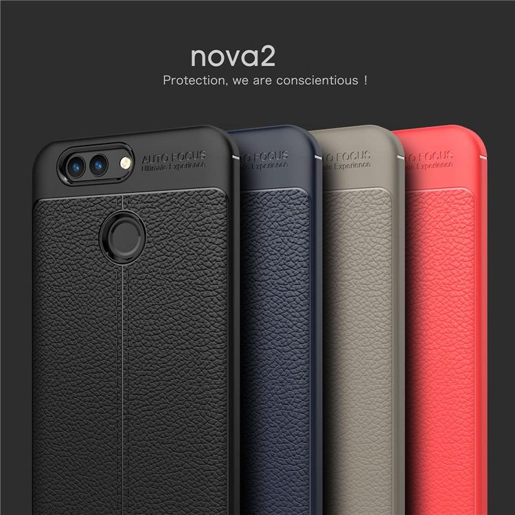 (025-823)เคสมือถือ Case Huawei Nova 2 Plus เคสนิ่มซิลิโคนลายหนังสไตส์เรียบหรู