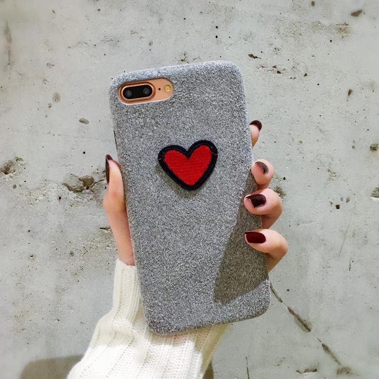 (พร้อมส่ง)เคสมือถือไอโฟน Case iPhone 6/6S เคสพลาสติกผ้าสักหลาดลายหัวใจ