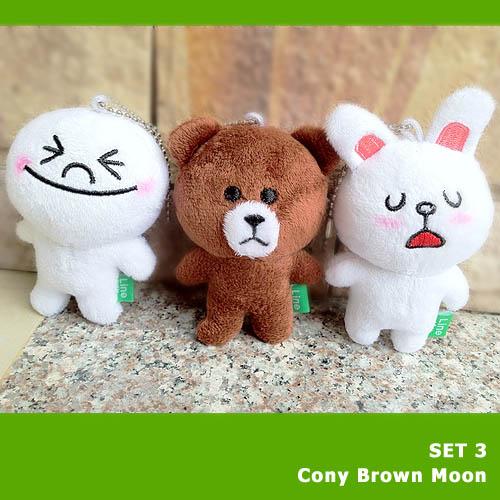 SET พวงกุญแจไลน์ 3 ตัว ตุ๊กตาไลน์ Line Cony , Brown , Moon ขนาด 10 cm.