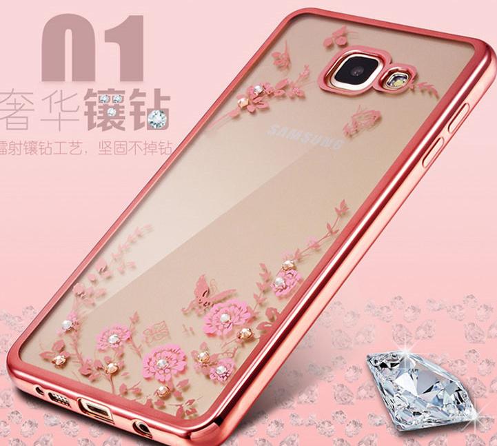 (พร้อมส่ง09)เคสมือถือซัมซุง Case Samsung A8(2016) เคสนิ่มขอบชุบแววหลังใสลายดอกไม้