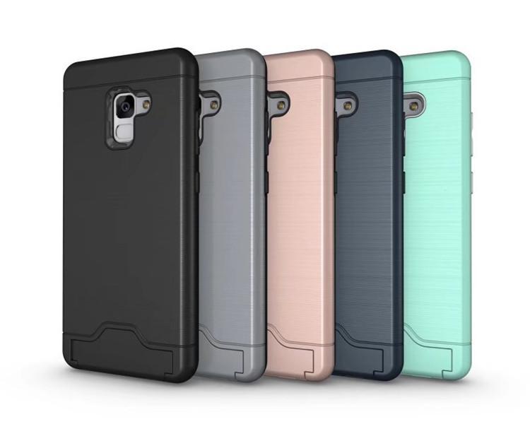(436-382)เคสมือถือซัมซุง Case Samsung A8+ 2018 เคสนิ่มเกราะพลาสติกมีช่องเก็บการ์ดสไตล์กันกระแทก