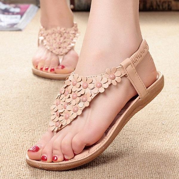 รองเท้าส้นเตี้ย แฟชั่นเกาหลีรองเท้าแตะดอกไม้สวย นำเข้า