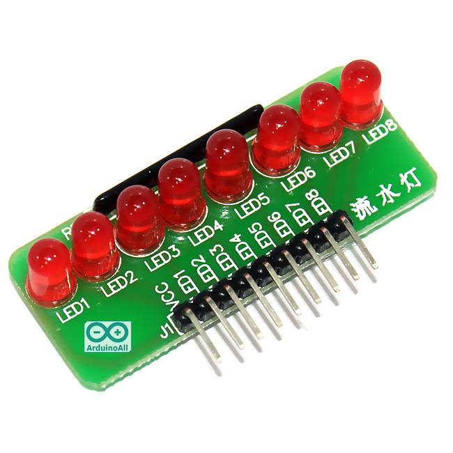 บอร์ดทดลอง LED 8 ดวง สำหรับ Arduino