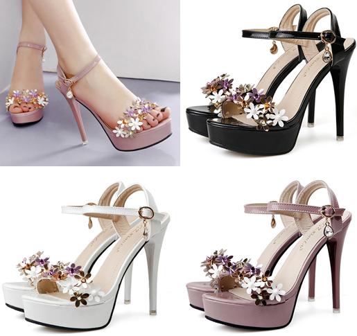 รองเท้าส้นสูงแต่งดอกไม้สีชมพู/ดำ/ขาว ไซต์ 34-39