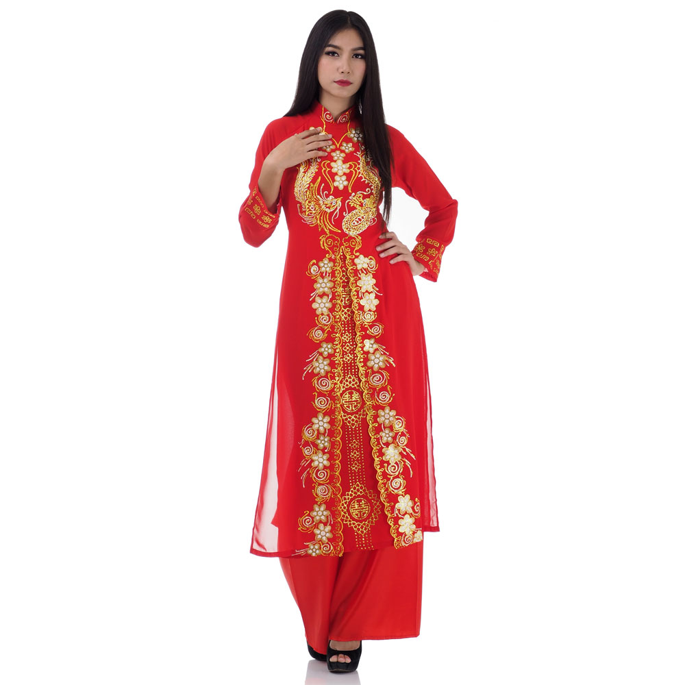 ชุดเวียดนามหญิงชั้นสูง ลายหงส์คู่มังกร (สีแดง)