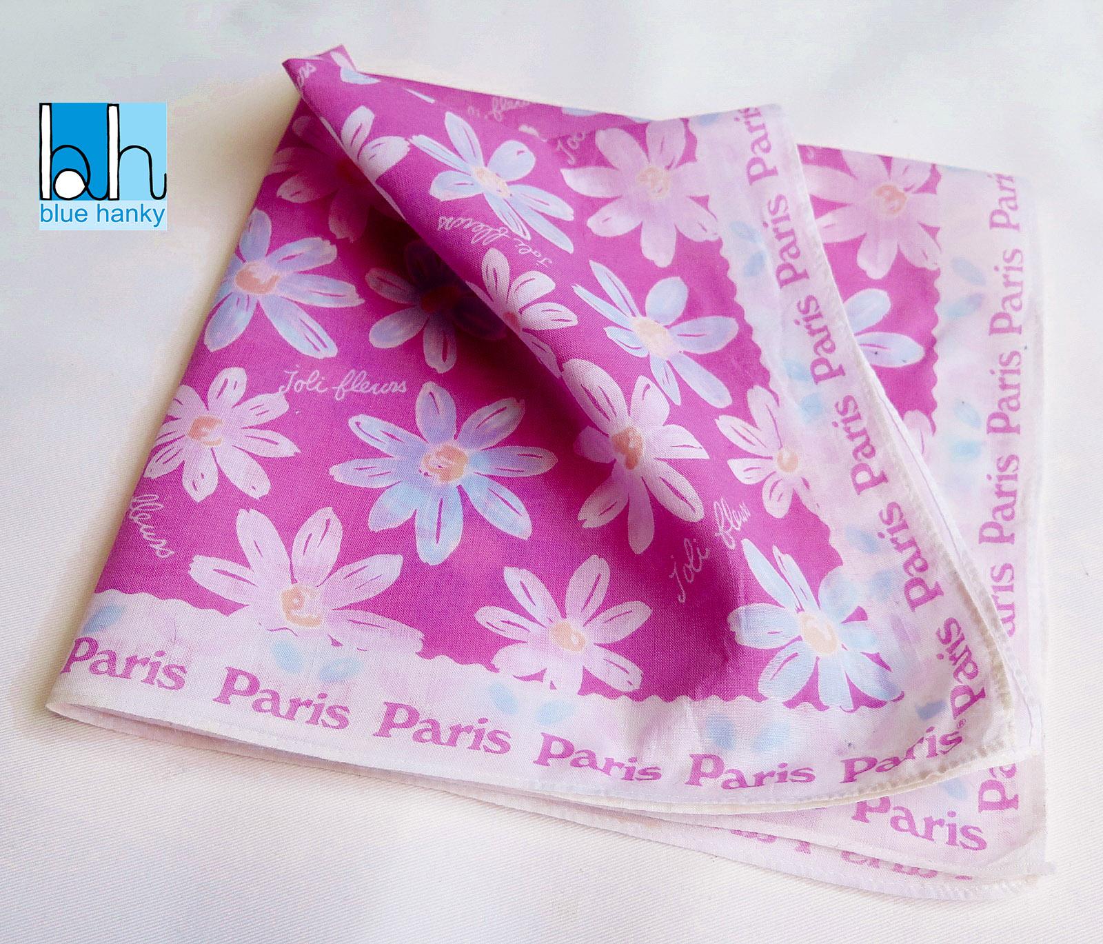 """#85 18"""" joli fleurs Paris ผ้าเช็ดหน้ามือ2 สภาพดี ผ้าเช็ดหน้าผืนใหญ่"""