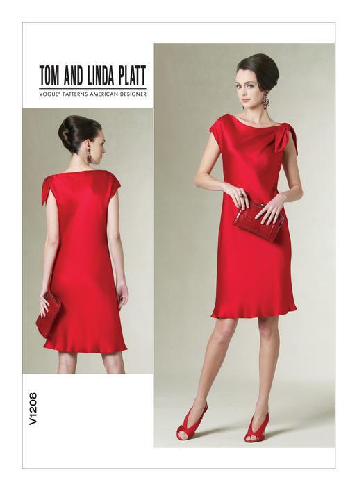แพทเทิร์นตัดเดรสสตรี งานดีไซน์เนอร์ Vogue 1208AA Size: 6-8-10-12 (อก 30.5 - 34 นิ้ว)