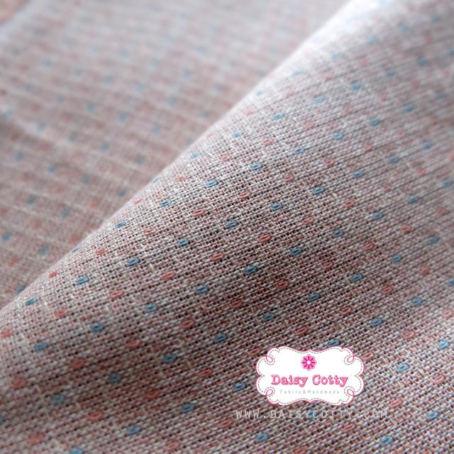 ผ้าทอญี่ปุ่น 1/4ม.(50x55ซม.) โทนสีชมพูอ่อน แต่งเส้นปะ
