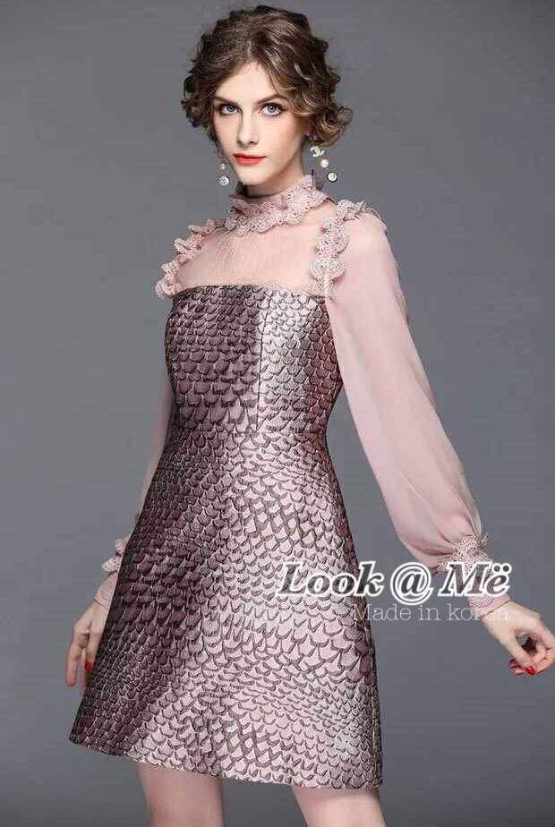 ชุดเดรสเกาหลี พร้อมส่ง Dress ชุดกระโปรง แขนยาวซีทรู