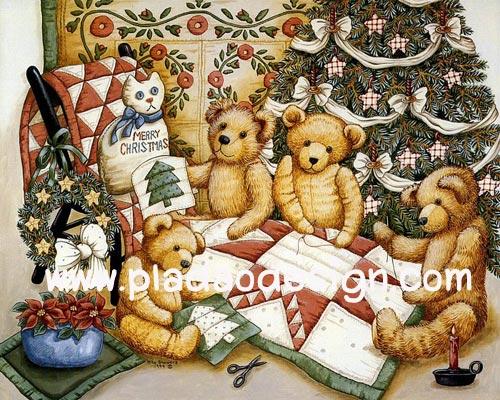 กระดาษอาร์ทพิมพ์ลาย สำหรับทำงาน เดคูพาจ Decoupage แนวภาพ หมี Teddy ล้อมวงเย็บผ้านวมผืนใหญ่ใต้ต้นคริสมาสต์ (ปลาดาว ดีไซน์)