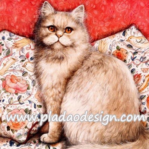 กระดาษสาพิมพ์ลาย สำหรับทำงาน เดคูพาจ Decoupage แนวภาพ แมวสีทรายอ่อนๆ ขนฟู ตัวใหญ่อยุ่บนเบาะลายดอก