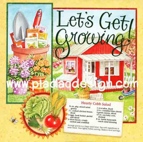 กระดาษสาพิมพ์ลาย สำหรับทำงาน เดคูพาจ Decoupage แนวภาำพ Let's Get Growing ปลูกผักทำสลัดกินเอง กับ สูตรทำสลัด Hearty cobb Salad สีสด (ปลาดาวดีไซน์)
