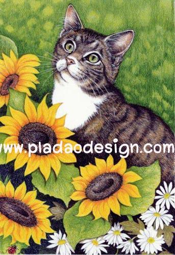 กระดาษสาพิมพ์ลาย สำหรับทำงาน เดคูพาจ Decoupage แนวภาพ แมวน้อยใต้แสงอาทิตย์ อยู่ในเงาของดอกทานตะวัน
