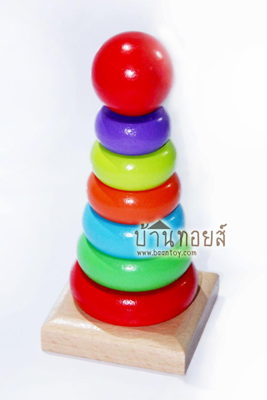 ของเล่นไม้ บล็อคไม้สวมหลัก เป็นบล็อคไม้ของเล่น ของเล่นเสริมพัฒนาการ