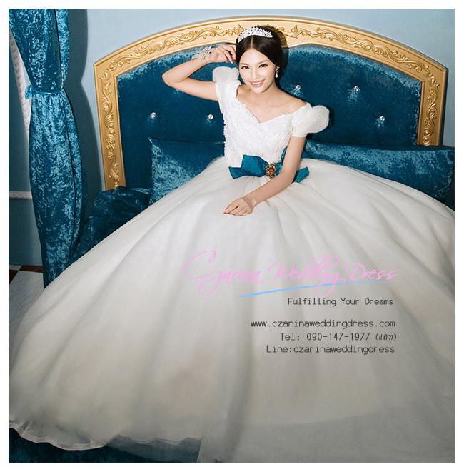 WB40006 ชุดแต่งงาน แขนตุ๊กตาราคาถูก สวยหวานแบบเจ้าหญิง ราคาถูก