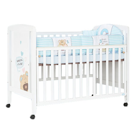 KS Wooden Crib Set(Bear) ชุดเตียงไม้สีขาว ลายหมี