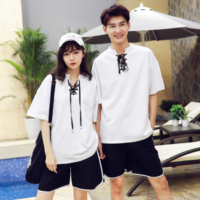 ชุดคู่รักสีขาวเกาหลี เสื้อแขนสั้นแฟชั่น ดีไซน์เชือกผูกคอเสื้อ